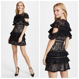 NWOT-Chic & Flirty Black Tiered Lace Jolie Dress
